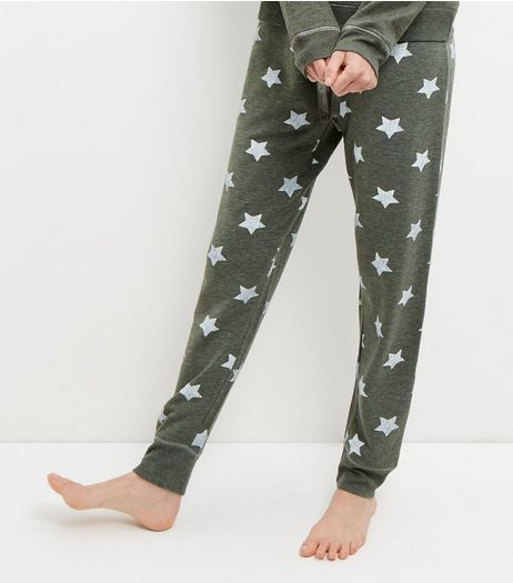 Olive Green Star Print Pyjama Joggers  | New Look