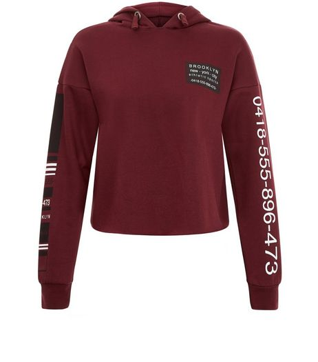 Teens Burgundy Phone Number Print Hoody | New Look