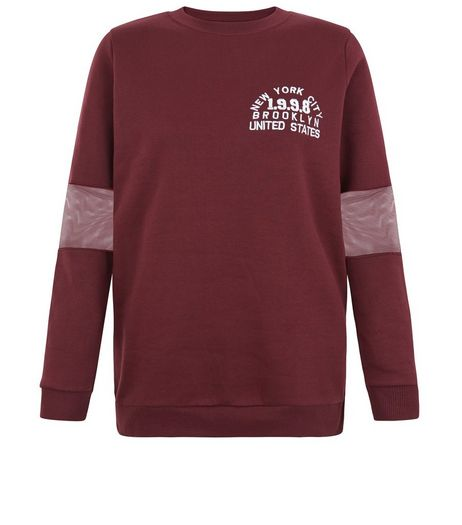 Teens Burgundy Mesh Sleeve 1998 Print Sweater | New Look