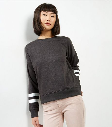 Dark Grey Stripe Sleeve Sweater | New Look