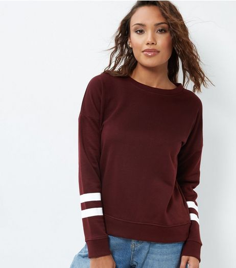 Burgundy Stripe Sleeve Sweater  | New Look
