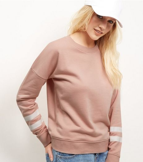 Mid Pink Stripe Print Sleeve Sweater | New Look