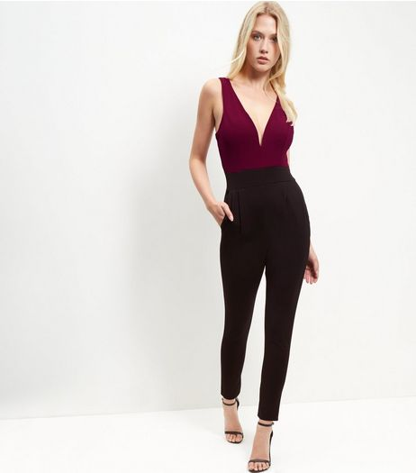 Loving This Black Colour Block V Neck Jumpsuit  | New Look
