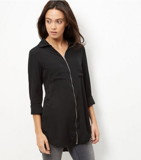 Brave Soul Black Zip Front Shirt  | New Look