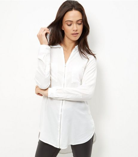 Brave Soul Cream Zip Front Shirt | New Look