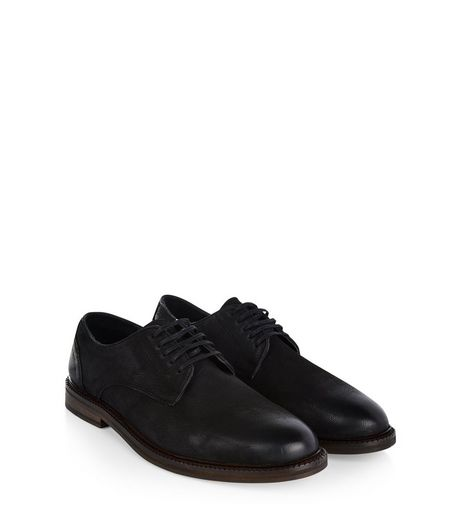Black Leather Derby Shoes  | New Look