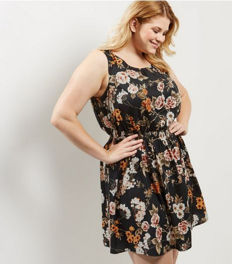 Curves Black Floral Print Sleeveless Dress | New Look