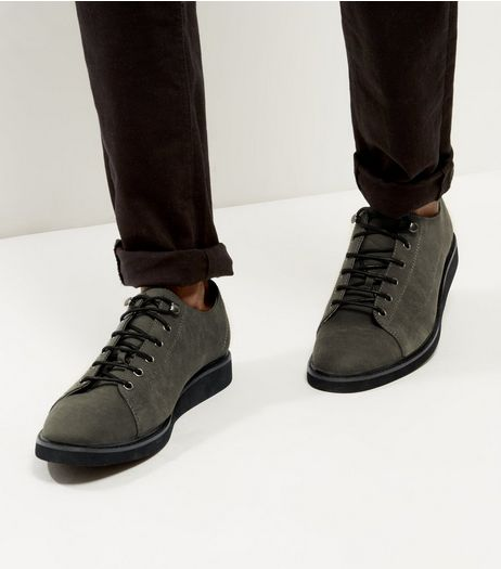 Grey Suedette Lace Up Shoes  | New Look