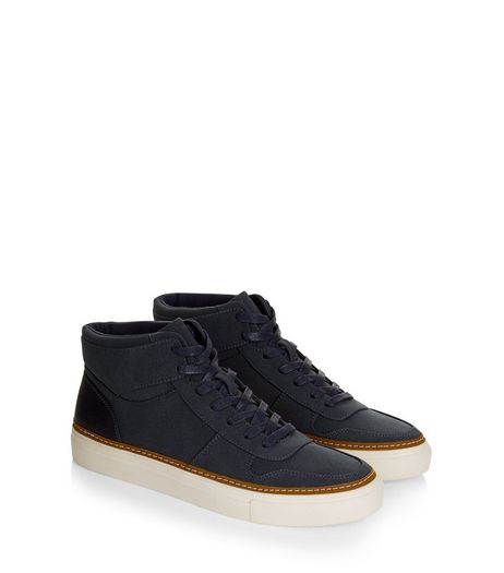 Navy Suedette Hi Top Trainers | New Look