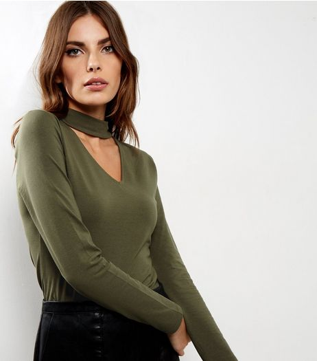 Olive Green Choker Neck Cut Out Long Sleeve Top  | New Look