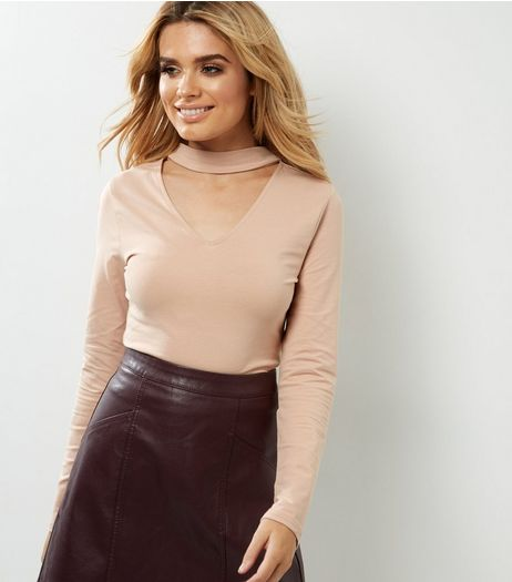 Mid Pink Choker Neck Cut Out Long Sleeve Top  | New Look