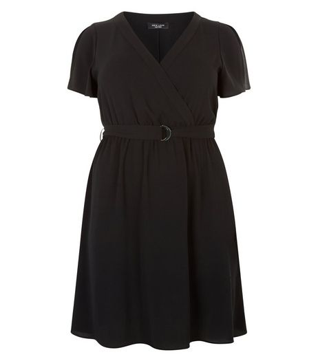 Curves Split Sleeve Wrap Front Dress | New Look