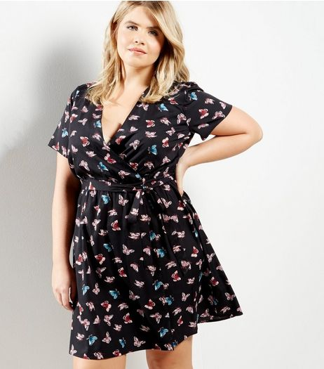 Curves Black Butterfly Print Wrap Dress | New Look