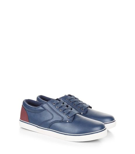 Navy Contrast Panel Lace-Up Trainers | New Look