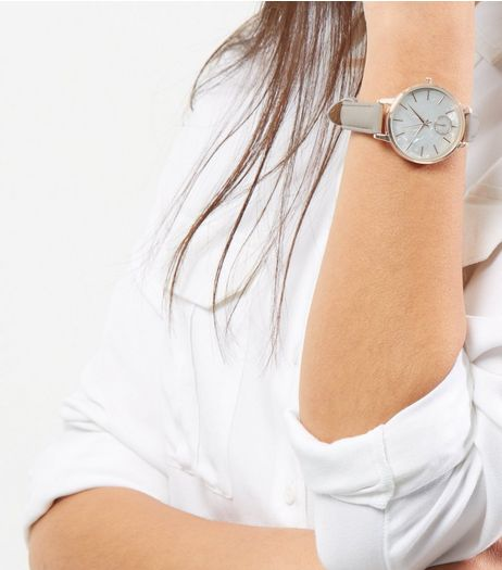 Grey Metallic Dial Watch | New Look