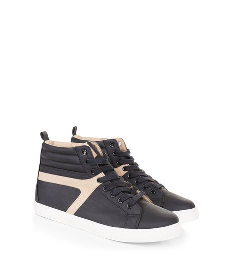 Black Contrast Trim Hi-Top Trainers | New Look