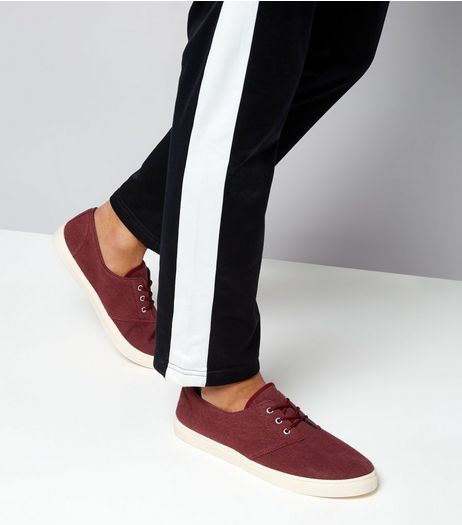 Burgundy Canvas Plimsolls | New Look