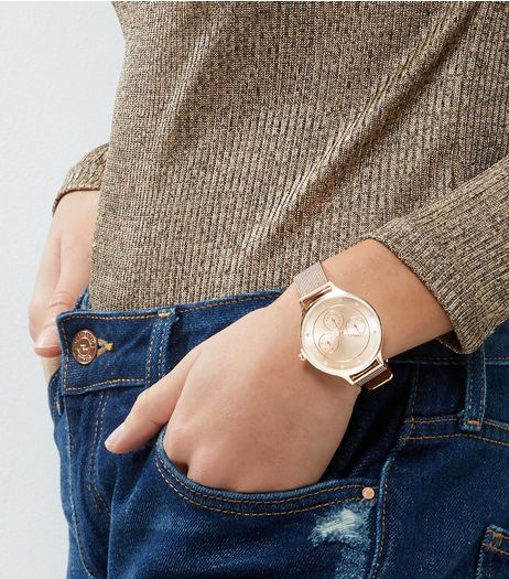 Rose Gold Mesh Strap WatchGold Mesh Strap Watch | New Look