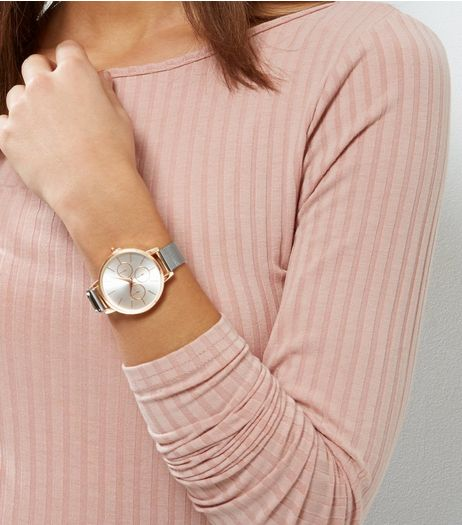 Rose Gold Contrast Mesh Strap Watch | New Look