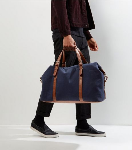 Navy Leather-Look Panel Holdall  | New Look