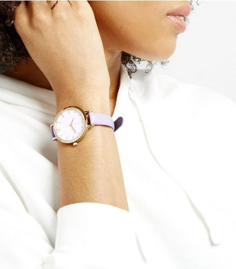 Lilac Metallic Face Watch | New Look