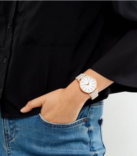 Grey Textured Strap Watch | New Look
