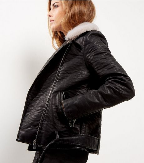 Black Leather-Look Faux Fur Trim Biker Jacket  | New Look