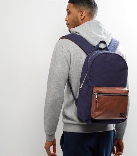 Navy Contrast Pocket Front Backpack | New Look