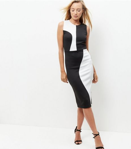 Cameo Rose Black Colour Block Midi Dress | New Look