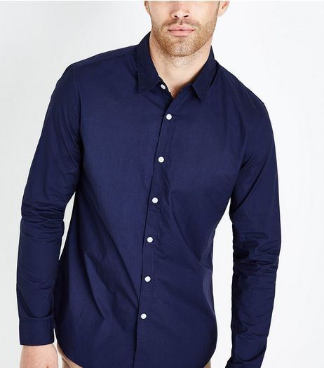 Navy Washed Cotton Long Sleeve Shirt | New Look