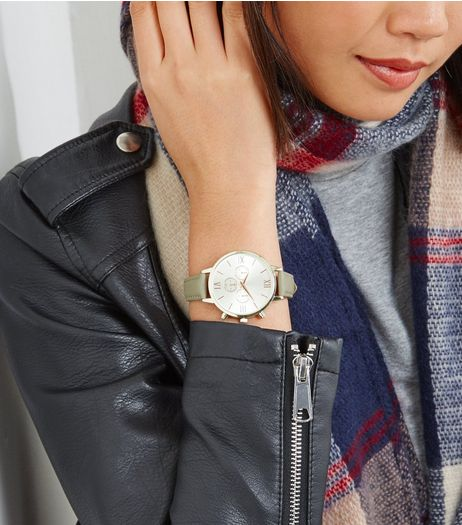Grey Leather-Look Strap Watch | New Look
