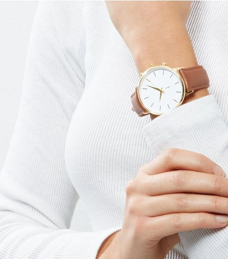 Brown Leather Oversized Watch | New Look