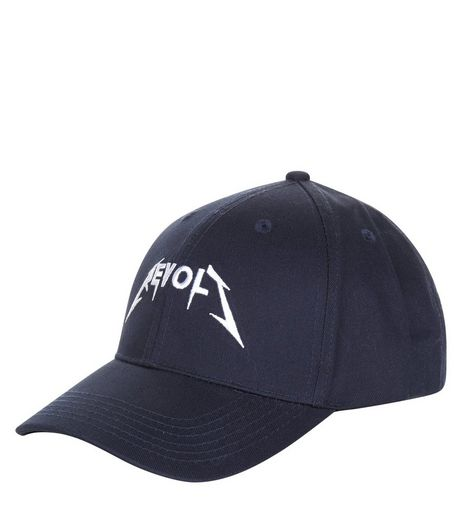 Navy Embroidered Cap | New Look