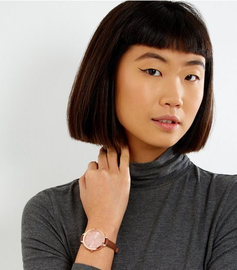 Tan Skinny Strap Metallic Face Watch | New Look