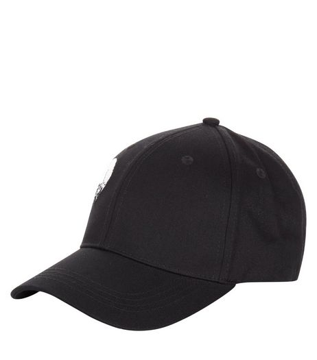 Black Skull Badge Cap | New Look