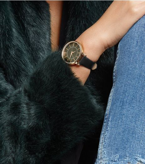 Black Diamanté Dial Watch | New Look