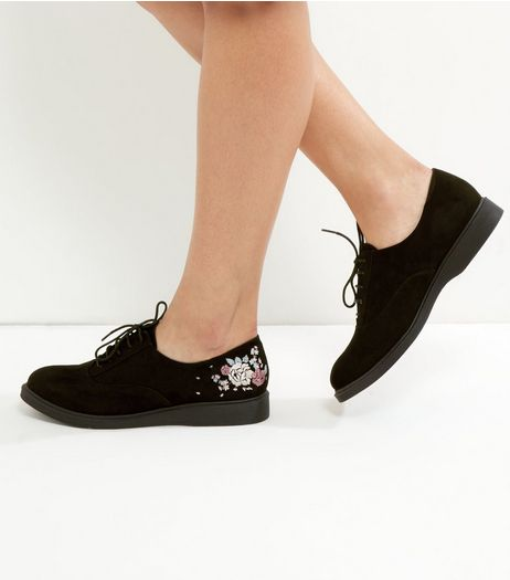Black Suedette Embroidered Lace Up Brogues  | New Look