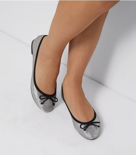 Silver Glitter Ballet Pumps | New Look