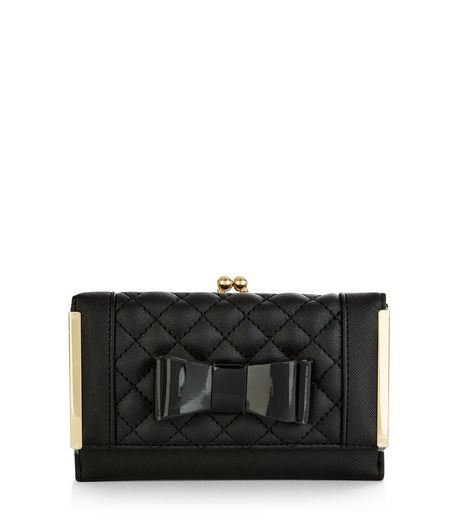 Black Patent Quilted Bow Cardholder | New Look