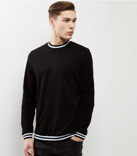Black Stripe Hem Long Sleeve T-Shirt | New Look