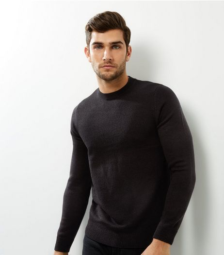 Black Textured Crew Neck Jumper | New Look