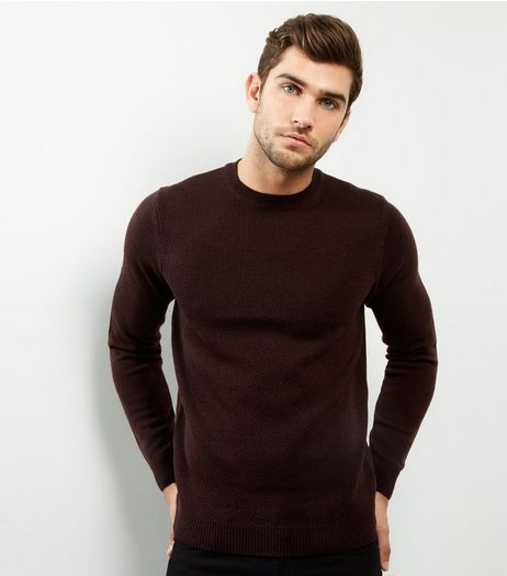 Burgundy Textured Crew Neck Jumper | New Look