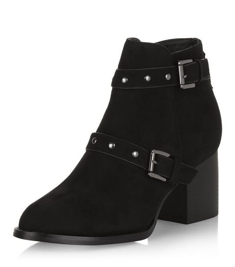 Teens Black Suedette Buckle Stud Strap Heeled Boots | New Look