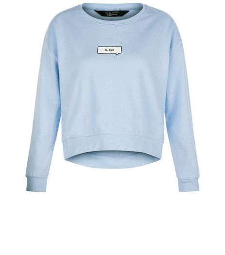 Teens Blue K Bye Slogan Sweater | New Look