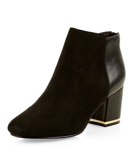 Teens Black Suedette Metallic Trim Block Heel Ankle Boots | New Look