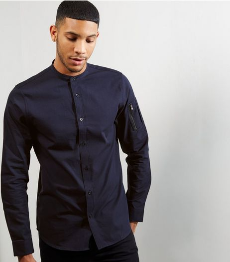 Navy Grandad Collar Zip Sleeve Shirt | New Look