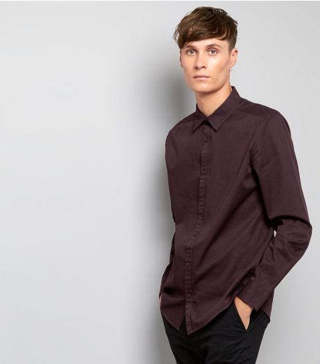 Burgundy Cotton Long Sleeve Shirt | New Look