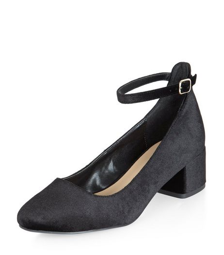 Teens Black Velvet Block Heel Court Shoes | New Look