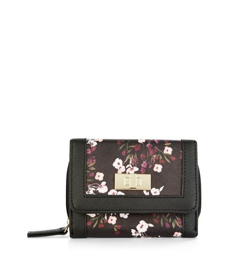 Black Floral Print Purse | New Look