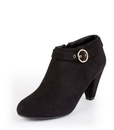 Teens Black Suedette Buckle Side Ankle Boots | New Look